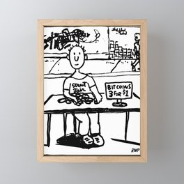 """Ben sells Bitcoins at the street fair"" Framed Mini Art Print"