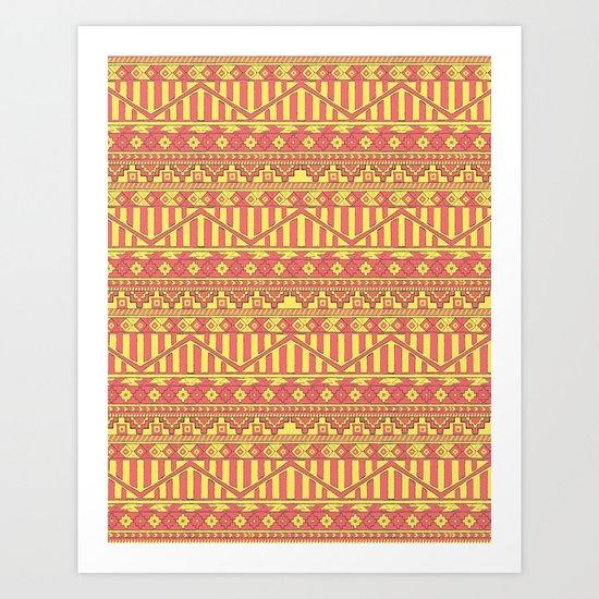 Aztec duo color pattern Art Print