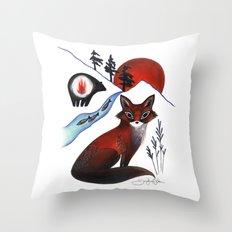 Fox on the Mountain Throw Pillow