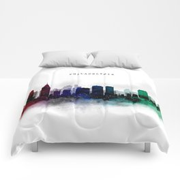 Philadelphia Watercolor Skyline Comforters
