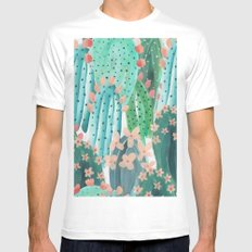 Colorful watercolor cacti White Mens Fitted Tee 2X-LARGE