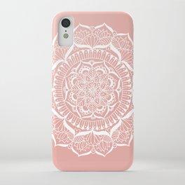 White Flower Mandala on Rose Gold iPhone Case