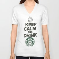 starbucks V-neck T-shirts featuring Starbucks by jrgff
