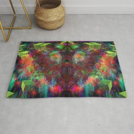 Butterfly Block Face (Burgundy) (abstract, psychedelic, visionary) Rug