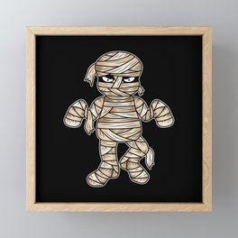 Scary Halloween Mummy Cartoon Illustration Framed Mini Art Print