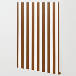 Russet brown - solid color - white vertical lines pattern Wallpaper