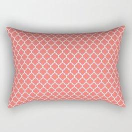Coral White Quatrefoil Pattern Rectangular Pillow