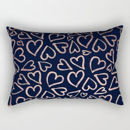 Love hearts rose gold valentines on navy blue pattern illustration Rectangular Pillow