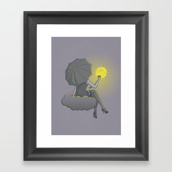 Drawin' in the rain Framed Art Print