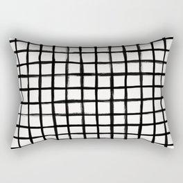 Strokes Grid - Black on Off White Rectangular Pillow