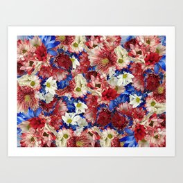 Red White Blue Flora Art Print