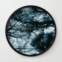 Blue Winter Trees Wall Clock
