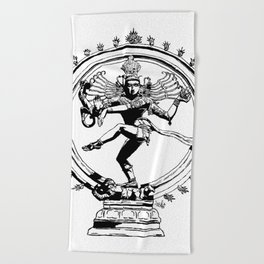 Natraj Dance - Mono Beach Towel