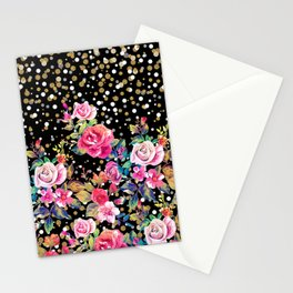 Modern watercolor spring floral and gold dots pattern Stationery Cards