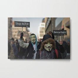 ACTA Protest Berlin - Guy Fawkes Metal Print