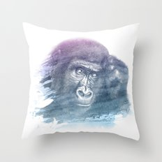 MONKEY SUPERIMPOSED WATERCOLOR Throw Pillow