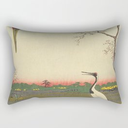 Crane and Cherry Blossom Ukiyoe Landscape Rectangular Pillow