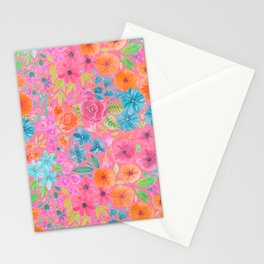 Floral watercolor pattern in pink Stationery Cards