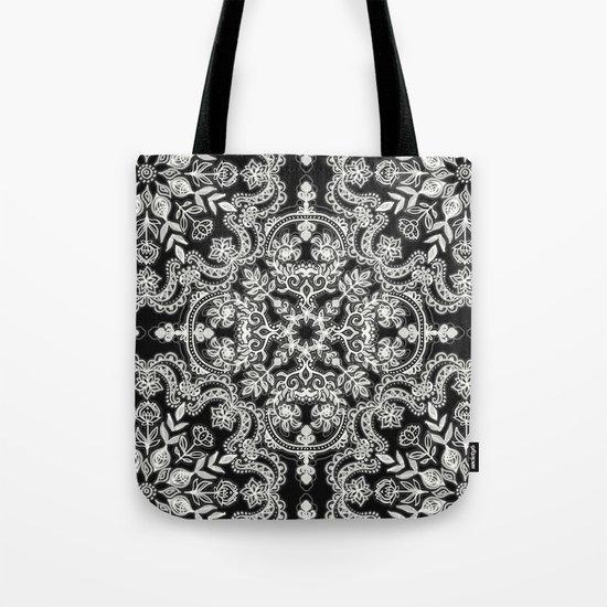 Black & White Folk Art Pattern Tote Bag