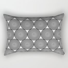 Hypnotic Black and White Circle Pattern - Digital Illustration - Graphic Design Rectangular Pillow