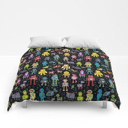 Robots in Space - on black Comforters