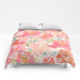 Preppy Pink Peonies Comforters