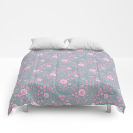Abstract pink garden pattern in cian background Comforters