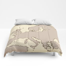 A vintage Map of Europe Comforters
