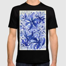 Blue flowers. Black Mens Fitted Tee MEDIUM