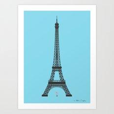 Eiffel Tower - First Kiss Art Print