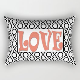 Pantone Living Coral LOVE XOs (Hugs and Kisses) Typography Art Rectangular Pillow