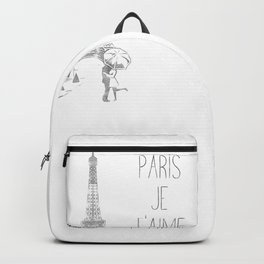 Paris Je T'aime (I Love You) T Shirt, Hand Drawn Sketch Backpack