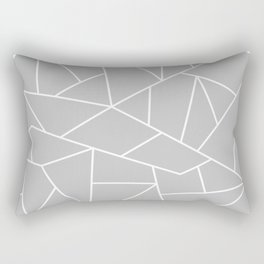 White Mosaic Lines On Silver Gray Rectangular Pillow
