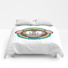 Cute Monkey Head with blue cirlce Comforters