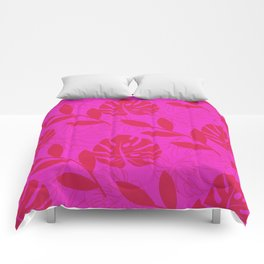 Monstera Leave Red In Red Pattern Comforters