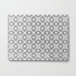 White floral vines on grey Metal Print