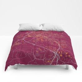 BLACKSBURG VIRGINIA COLLEGIATE MAP HANDRAWN Comforters
