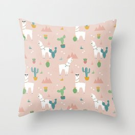 Summer Llamas on Pink Throw Pillow