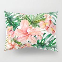 Tropical Jungle Hibiscus Flowers - Floral Pillow Sham