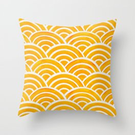 Japanese Seigaiha Wave – Marigold Palette Throw Pillow