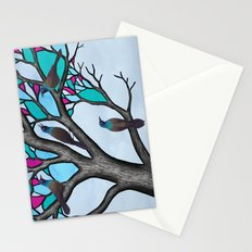 grackles in the stained glass tree Stationery Cards