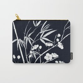 bamboo and plum flower white on black Carry-All Pouch