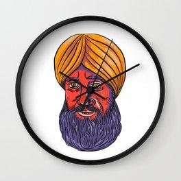 Sikh Turban Beard Watercolor Wall Clock