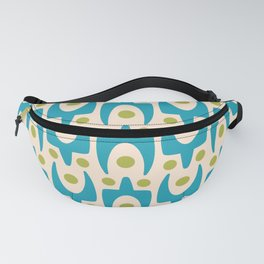 Mid Century Modern Abstract Pattern 151 Turquoise and Chartreuse Fanny Pack