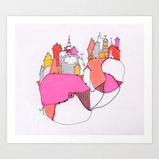 Pink city lights Art Print