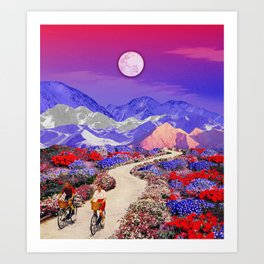 Riding under the moon Art Print
