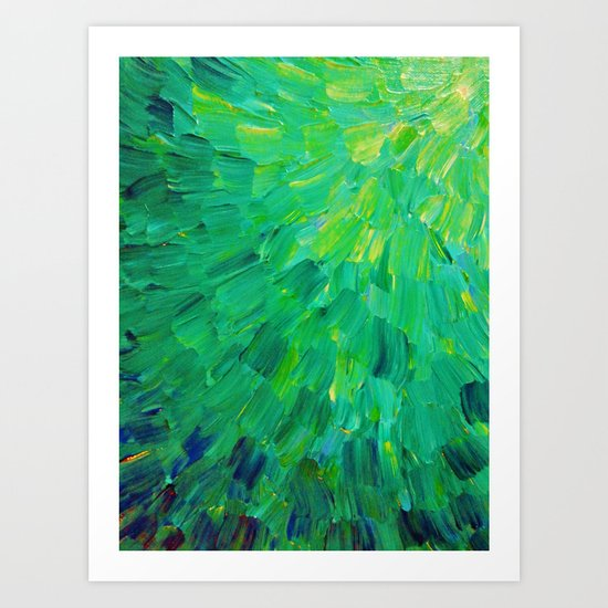 SEA SCALES in GREEN - Bright Green Ocean Waves Beach Mermaid Fins Scales Abstract Acrylic Painting Art Print