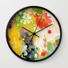 abstract floral art in yellow green and rose magenta colors Wall Clock