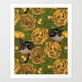 Peonies and wrens Art Print