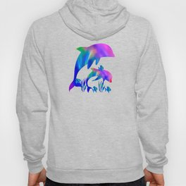 Rainbow Dolphins swimming in the sea Hoody